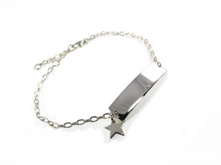 Sterling Silver Identity Bracelet with Star Charm